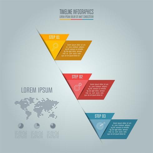 Concetto di business con 3 opzioni, passaggi o processi. vettore