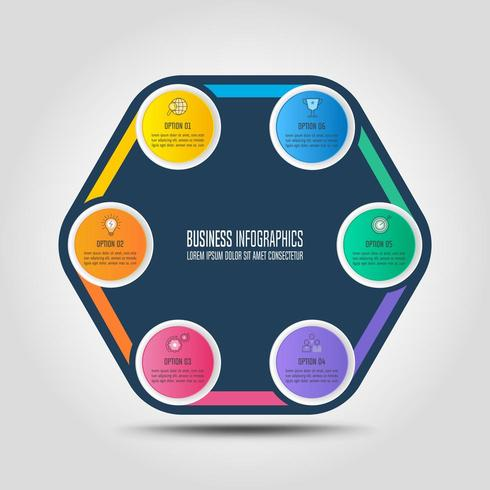 concetto di business design infografico con 6 opzioni, parti o processi. vettore