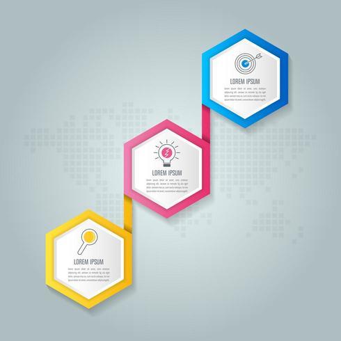 concetto di business design infografico con 3 opzioni, parti o processi. vettore