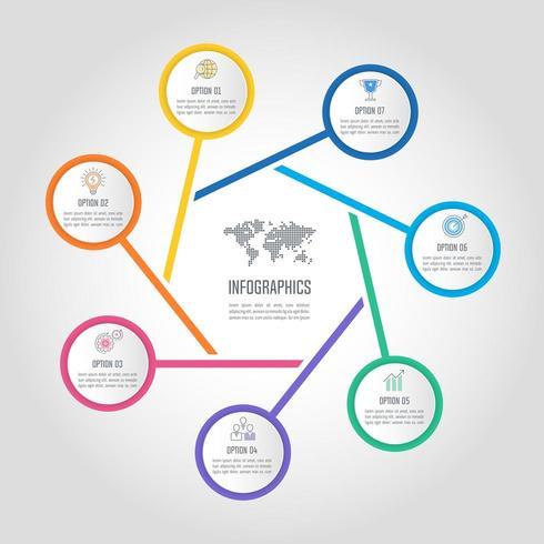 concetto di business design infografico con 7 opzioni, parti o processi. vettore