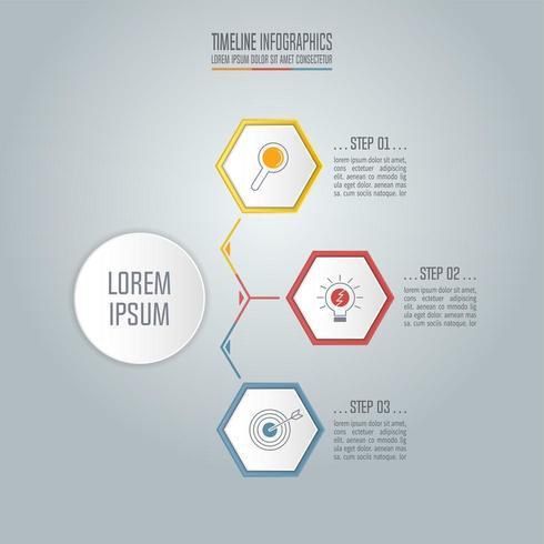 Concetto di business infografica Timeline con 3 opzioni. vettore