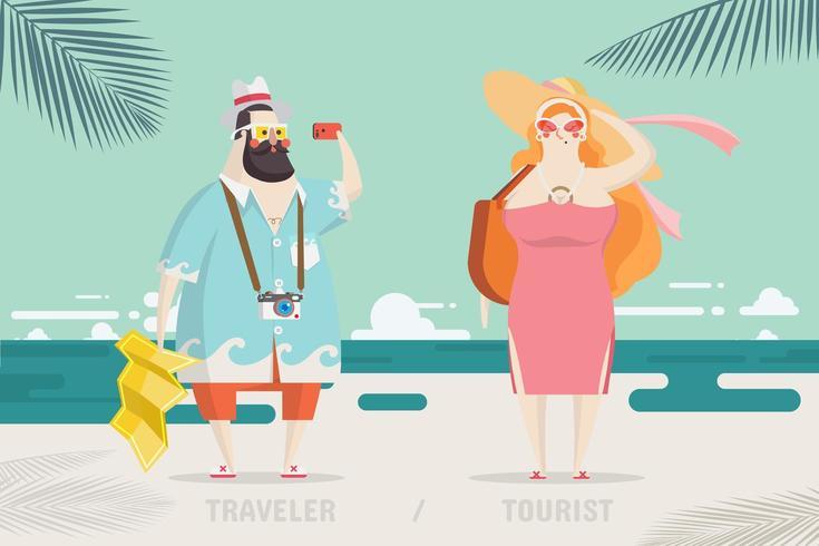 Progettazione di personaggi per viaggiatori e turisti vettore