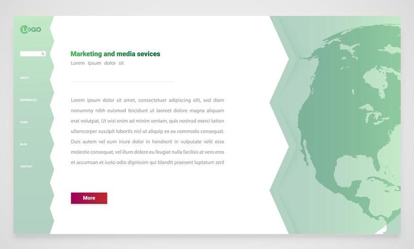 Modello di sito Web verde vettore