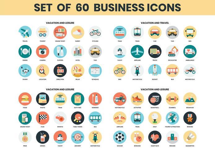 Set di icone di vacanze, tempo libero e viaggi vettore