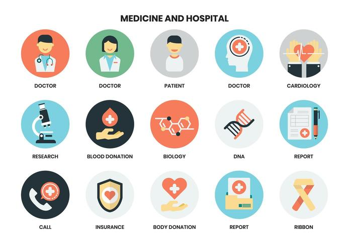 Set di icone di ospedale vettore