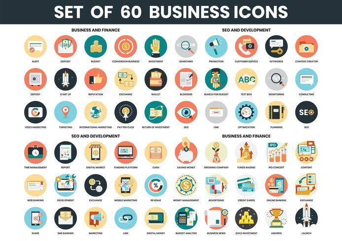 Set di icone di affari, finanza, SEO e sviluppo vettore