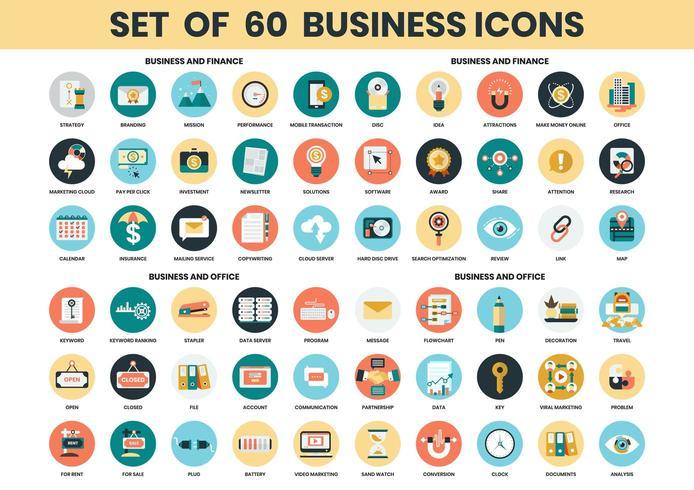 Set di icone di affari, finanza e ufficio vettore