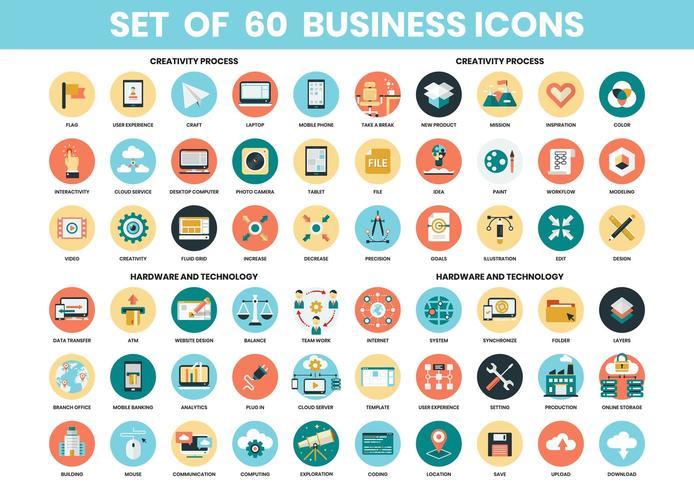 Set di icone di creatività, hardware e tecnologia vettore