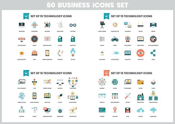 Set di icone di affari 60 vettore