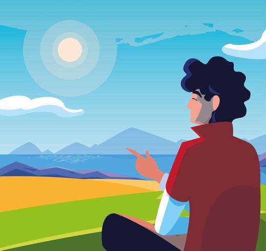 uomo seduto osservando il paesaggio con il lago vettore