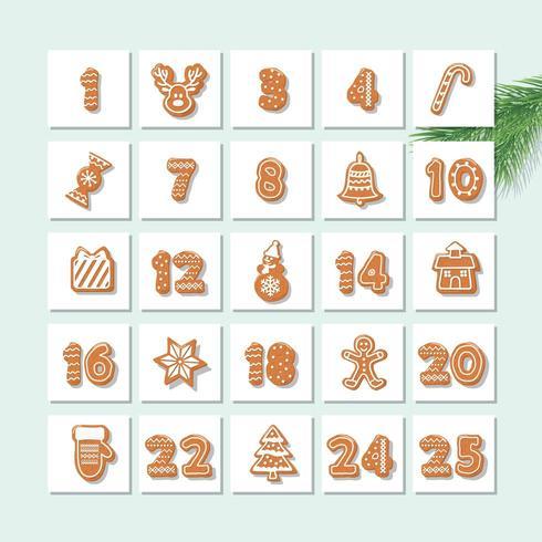 Calendario dell'avvento di Natale vettore
