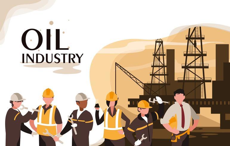 scena dell'industria petrolifera con piattaforma e lavoratori marini vettore