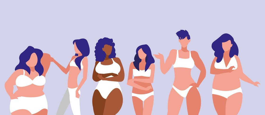 donne di diverse taglie vettore