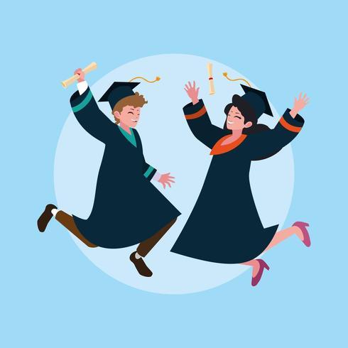 Studenti laureandi saltanti vettore