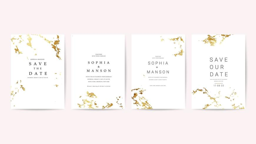 Collezione di carte di invito matrimonio di lusso vettore