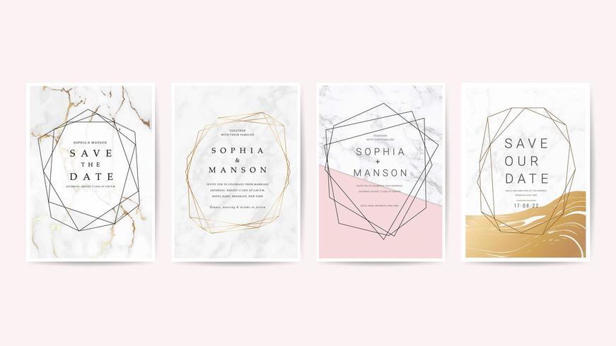 Set di carte invito matrimonio di lusso vettore