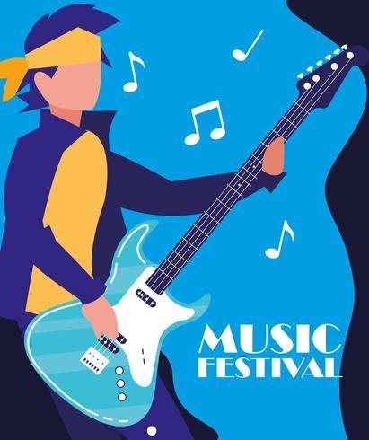 uomo rocker suonare la chitarra elettrica vettore