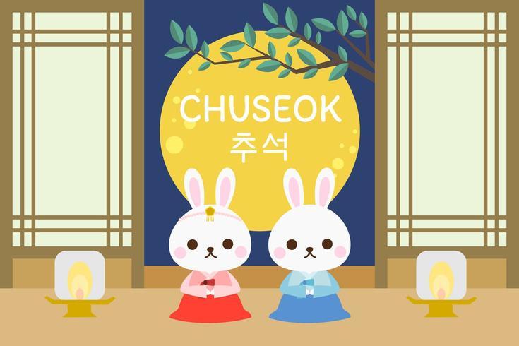 Festival di Chuseok con coppia coniglio e luna piena sullo sfondo. vettore