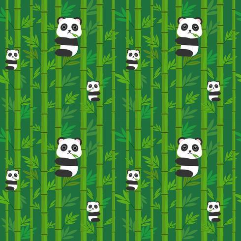 Panda senza cuciture sul bambù. vettore