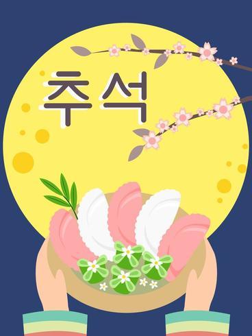 dessert nel festival di Chuseok con sfondo di luna piena. vettore