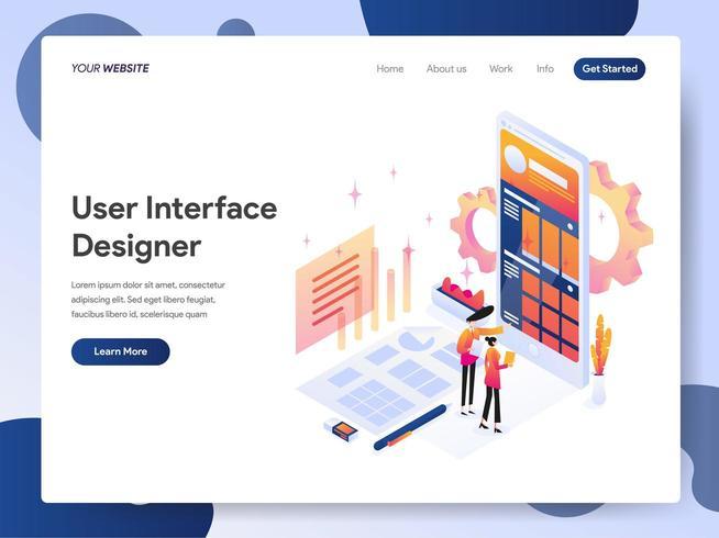 Progettista dell'interfaccia utente Isometric Illustration vettore