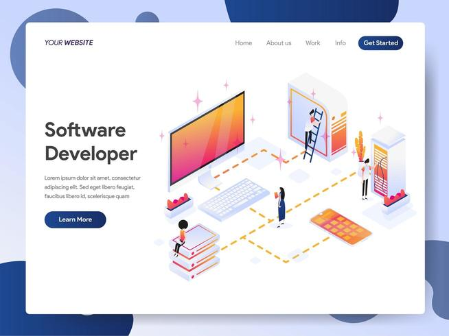 Modello della pagina di destinazione di Software Developer Isometric vettore