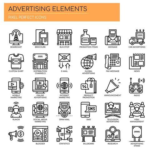 Insieme di elementi pubblicitari in bianco e nero linea sottile vettore