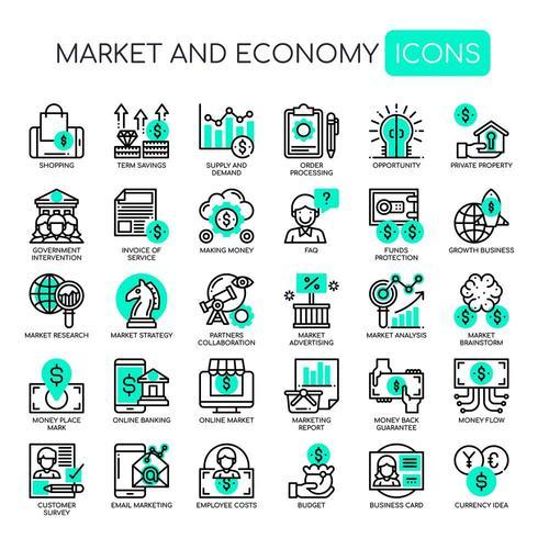 Set di icone monocromatiche verde mercato sottile linea ed economia vettore