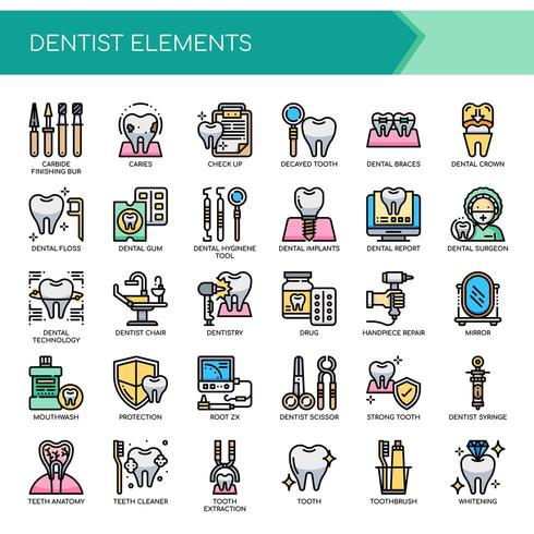 Set di icone e elementi dentali linea sottile di colore vettore