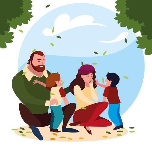 genitori con figli famiglia in scena naturale vettore