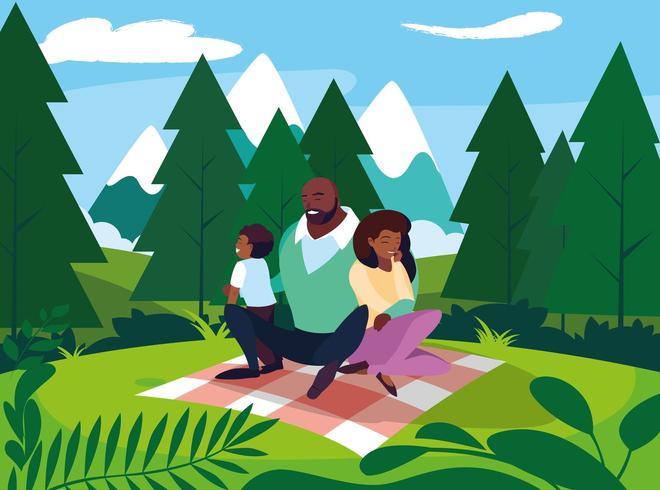 famiglia che ha un picnic vettore
