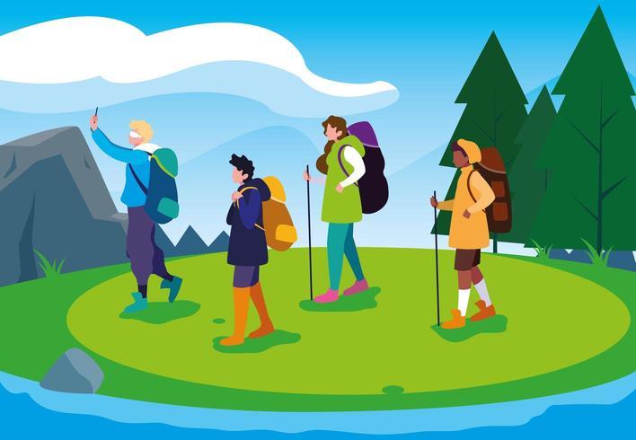 campeggiatori che camminano nella scena del bellissimo paesaggio vettore