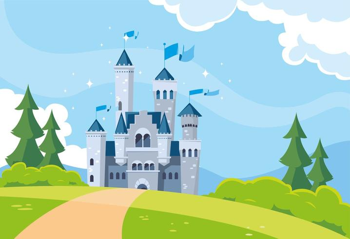 costruzione del castello da favola nel paesaggio montuoso vettore