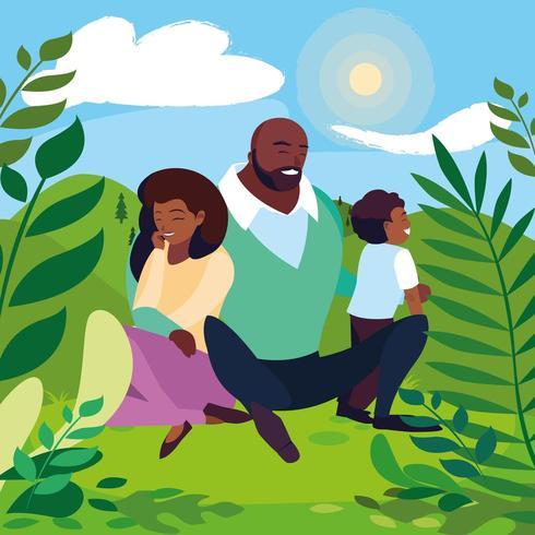 genitori con la famiglia figlio nel paesaggio soleggiato vettore