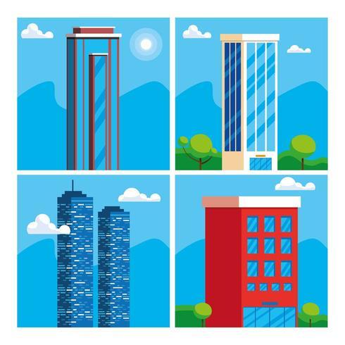 Set di grattacieli vettore