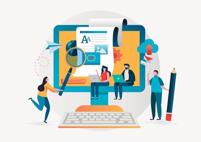 Blog e concetto di scrittura creativa con persone che lavorano davanti a monitor di grandi dimensioni. vettore