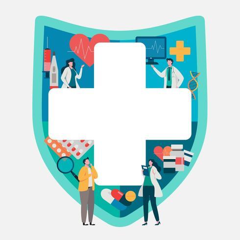 Consultazione paziente con il medico di fronte a articoli medici. Applicazione salutare. vettore