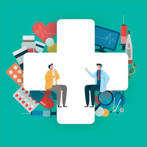 Consultazione paziente con il medico. Concetto di assistenza sanitaria, equipe medica. vettore