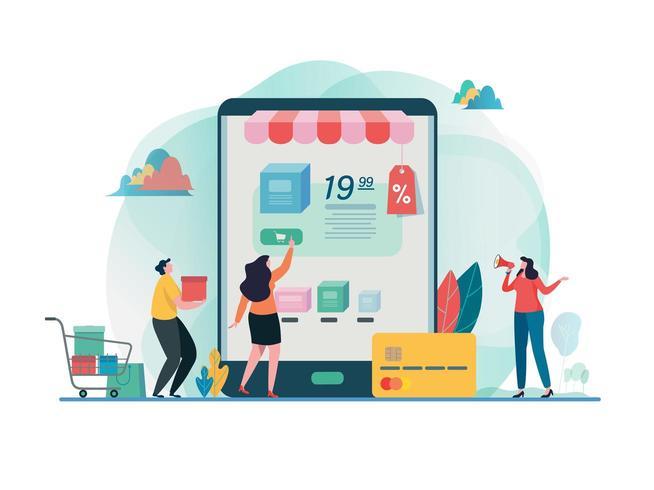 Shopping su cellulare. Design piatto del negozio online. vettore