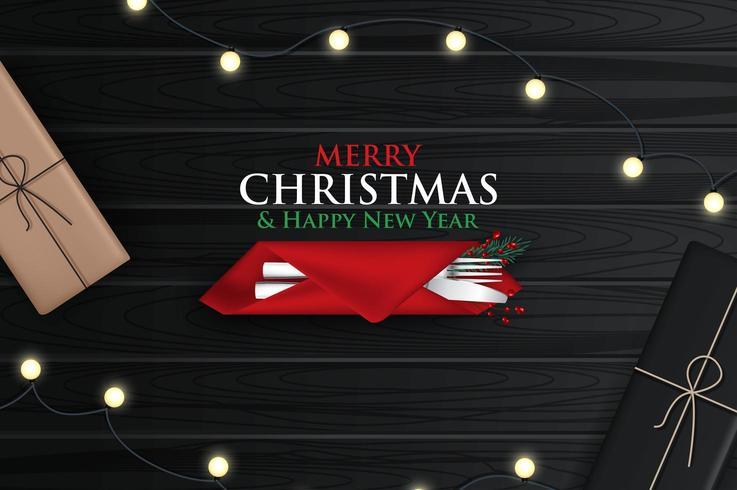 Scheda del nuovo anno 2020 con cena di Natale vettore
