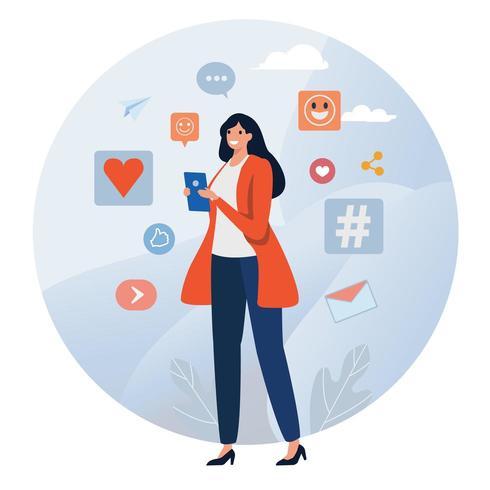 Donna sul telefono utilizzando i social media vettore