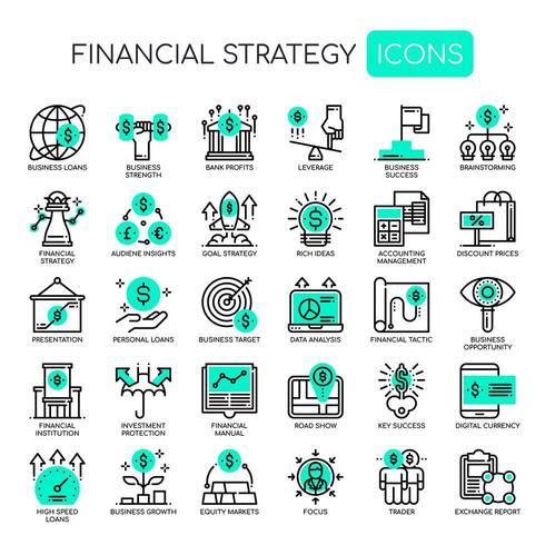 Set di icone monocromatiche di strategia finanziaria di linea sottile vettore
