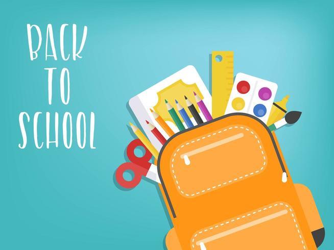 Zaino torna a scuola con materiale scolastico vettore