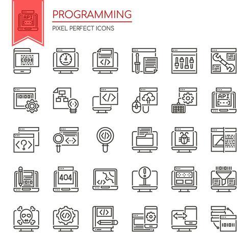 Set di icone di programmazione linea sottile in bianco e nero vettore