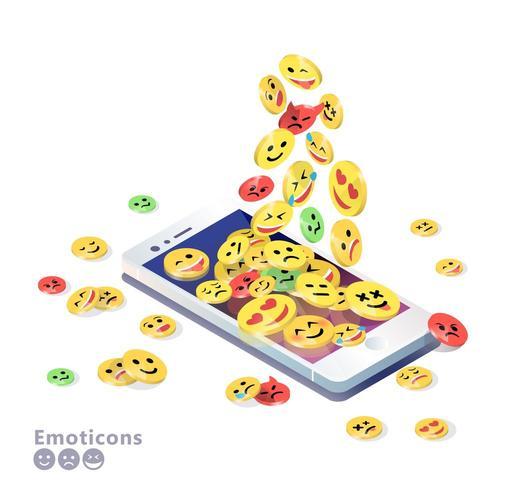 Telefono cellulare isometrico con emoticon accatastamento sullo schermo vettore