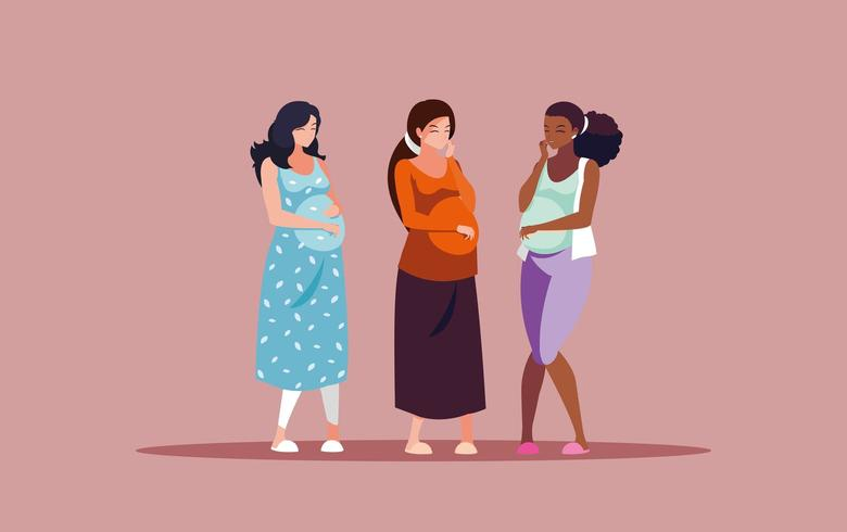 gruppo di donne in gravidanza a parlare vettore