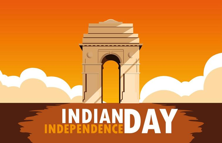 manifesto di festa dell'indipendenza indiana con il cancello dell'India vettore
