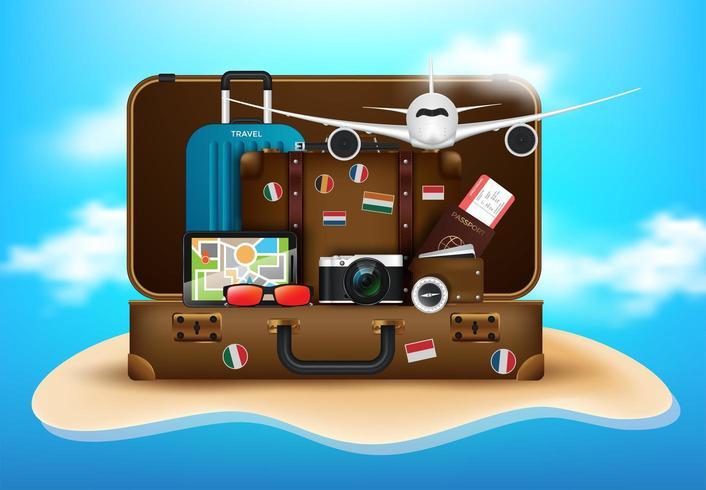 Concetto di vacanze desktop del viaggiatore vettore