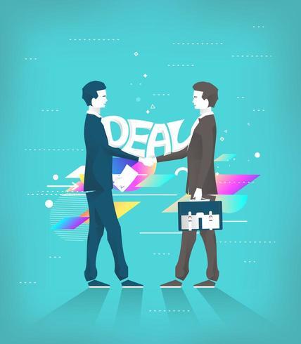 Due uomini d'affari si stringono la mano facendo un affare vettore