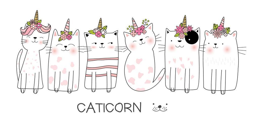 Insieme dell'illustrazione di Catcorn vettore